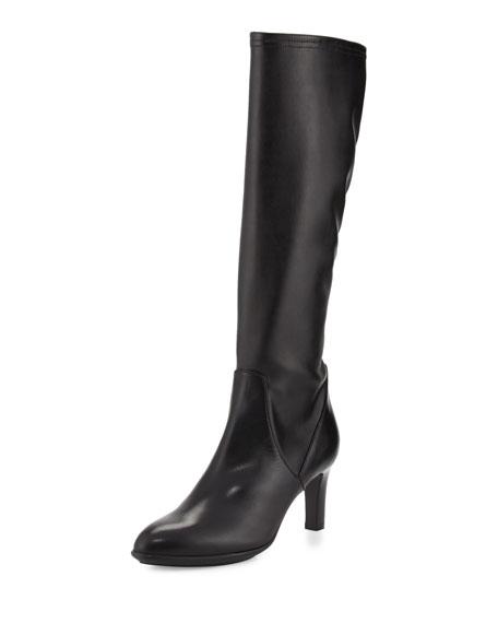 Aquatalia Diane Stretch-Leather Knee Boot, Black
