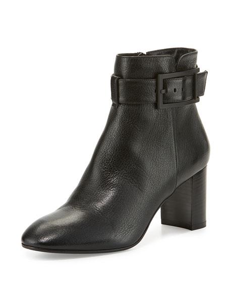 Aquatalia Vanie Leather Ankle-Strap Boot, Black