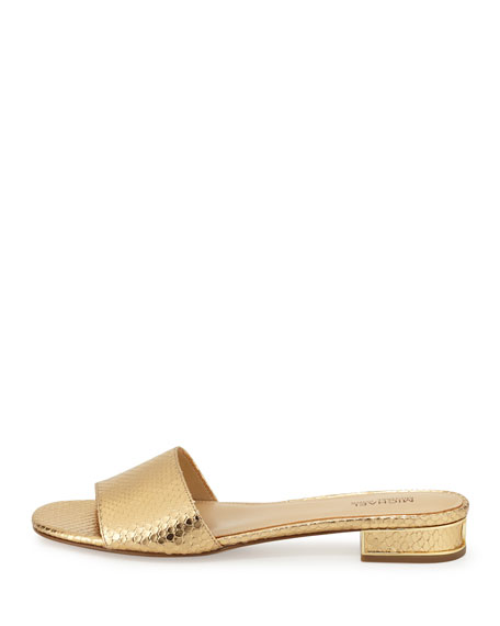 Joy Snake-Embossed Slide Sandal, Gold