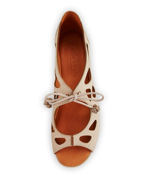 Brynn Nubuck Lace-Up Sandals, Beige