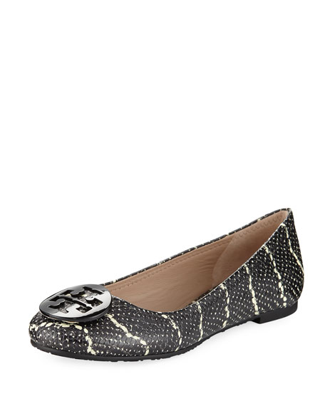 Reva Snake-Embossed Leather Flat