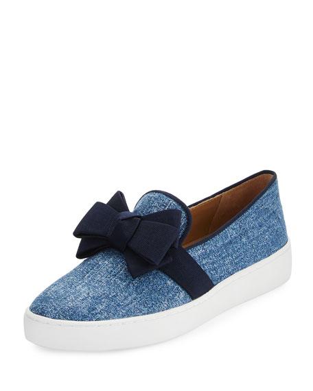 Val Denim Jacquard Bow Skate Sneaker, Blue