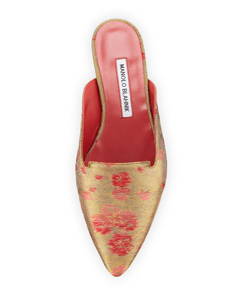 Ruby Brocade Point-Toe Flat Mule Slide, Gold