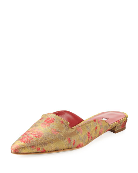Manolo Blahnik Ruby Denim Point-Toe Flat Mule Slide,