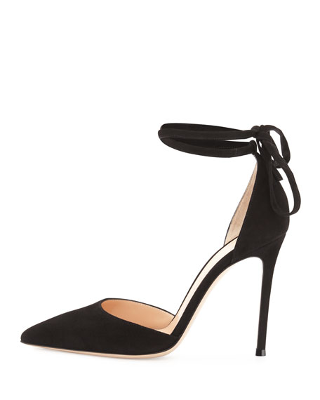 Suede Pointed-Toe Ankle-Wrap Pump, Black