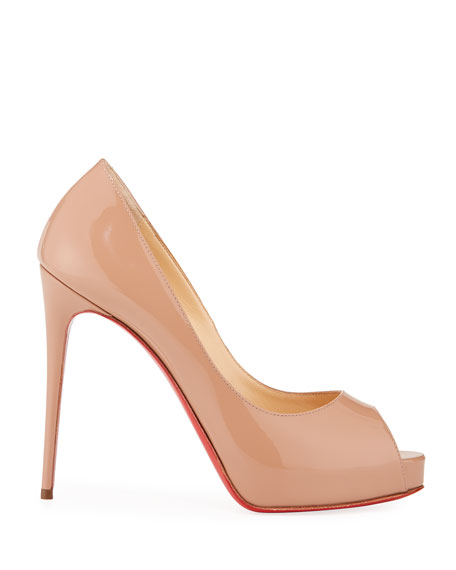 New Very Prive Patent Red Sole Pumps, Nude