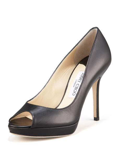 Luna Peep-Toe Platform Pump, Black
