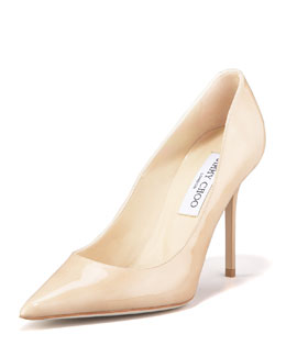Jimmy Choo Abel Point-Toe Patent Pump, Nude