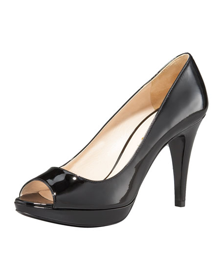Open-Toe Platform Pump, Black