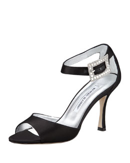 Manolo Blahnik Dribbin Jewel-Buckle Satin Sandal, Black