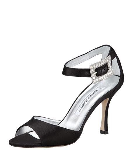 Dribbin Jewel-Buckle Satin Sandal, Black