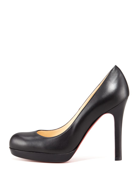 Bruges Leather Platform Red Sole Pump, Black