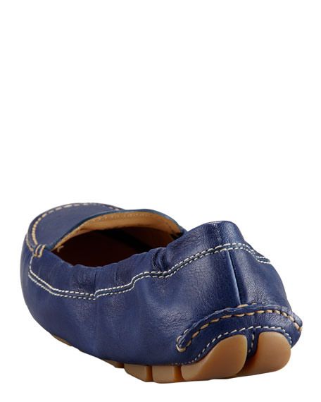 Leather Scrunch Driver, Blue