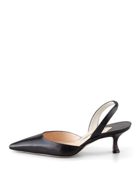 Carolyne Low-Heel Calfskin Halter, Black