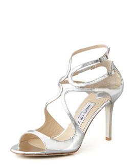 Jimmy Choo Ivette Strappy Metallic Sandal, Silver