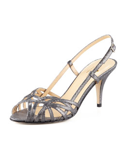 kate spade new york shari metallic lizard-print sandal