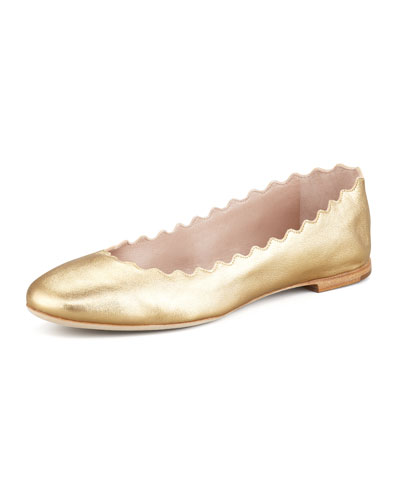 Chloe Scalloped Metallic Leather Ballerina Flat