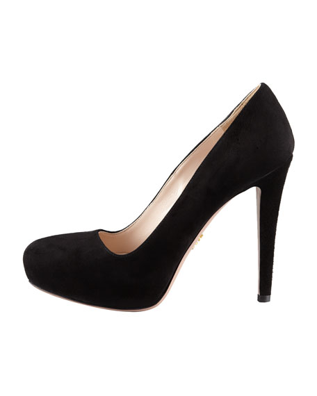 Suede Internal-Platform Pump,  Black