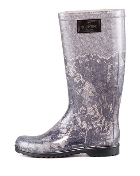 Lace-Print Rain Boot