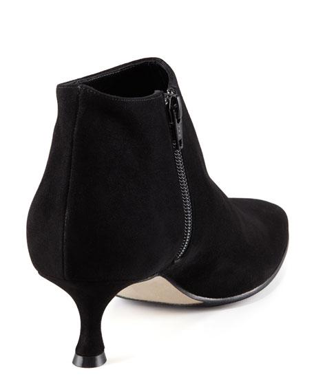 Maleeba Suede Low-Heel Bootie, Black