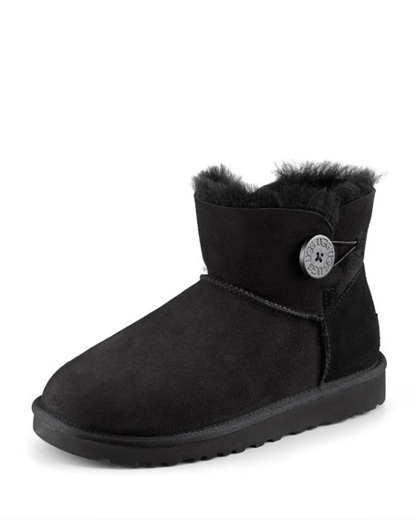 Mini Bailey Buttoned Boot, Black