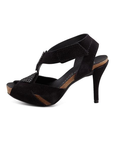 Lindsey Jewel Suede Sandal, Black