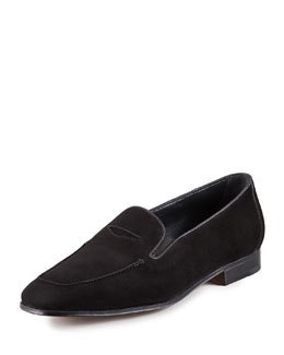Gravati Suede Elasticized Penny Loafer, Black