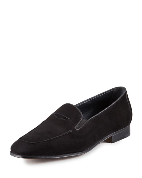 Suede Elasticized Penny Loafer, Black