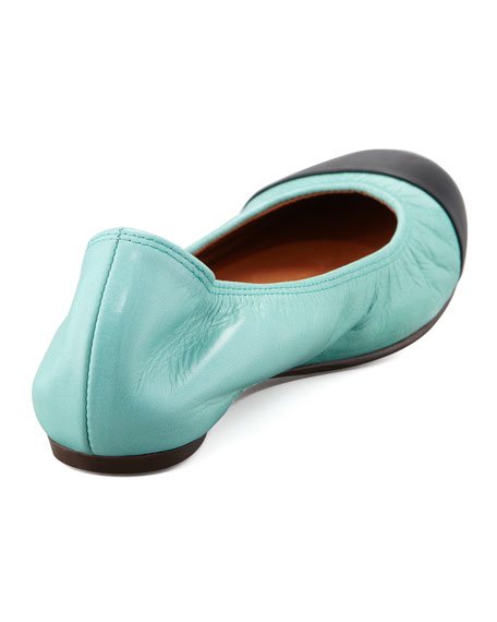 Cap-Toe Ballerina Flat, Black/Green