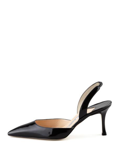 Carolyne Patent Mid-Heel Halter, Black