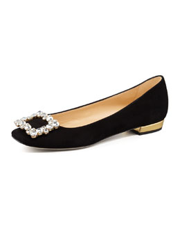 kate spade new york norella crystal-buckle suede flat