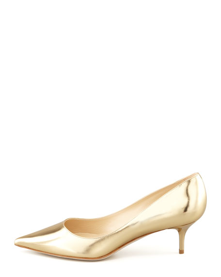 Aza Low-Heel Metallic Pump, Gold