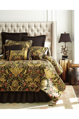 "Austin Horn Collection European Diamond-Pattern Gustone Sham Gustone Floral Pillow, 20""Sq."