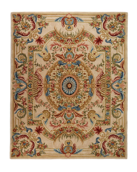 Feather Medallion Rug, 5' x 8'