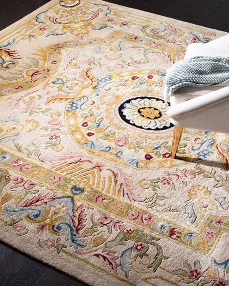 Feather Medallion Rug, 10' x 14'
