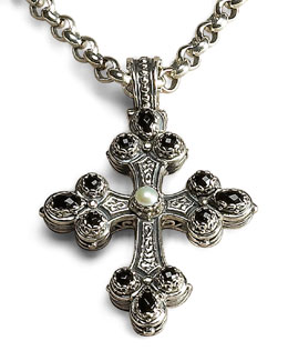Konstantino Link-Chain Necklace & Onyx and Pearl Cross Pendant