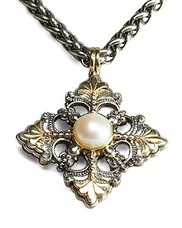 Konstantino Link-Chain Necklace & Pearl Filigree Cross Pendant