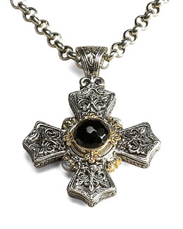 Konstantino Link-Chain Necklace & Onyx Cross Pendant