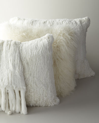 Adrienne Landau Rabbit-Fur Knit Pillows