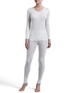 Hanro Silk Long-Sleeve Shirt & Leggings, Pale Cream