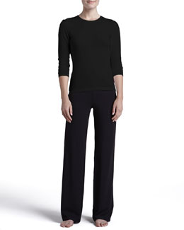 La Perla Tricot Long-Sleeve Top & Relaxed Pants, Black