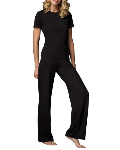 La Perla Tricot Short-Sleeve Top & Relaxed Pants, Black