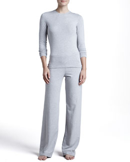 La Perla Tricot Long-Sleeve Top & Relaxed Pants, Gray