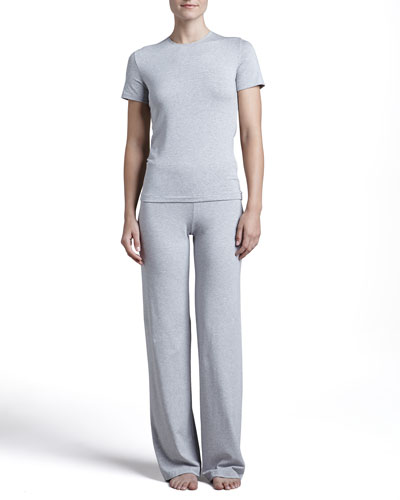 La Perla Tricot Short-Sleeve Top & Relaxed Pants, Gray