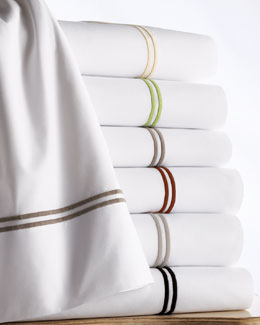 Matouk Two-Line Embroidered No-Iron Percale Sheet Sets