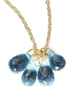 Heather Moore Topaz Teardrop & Gold Chain Necklace