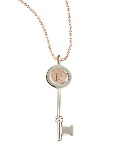 Heather Moore Rose Gold Chain & Personalized Small Oval Key Charm