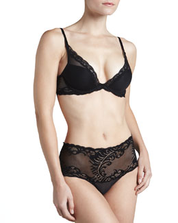 Natori Feather Mesh Plunge Bra & High-Waist Briefs