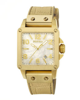 Brera Stella Brushed yellow Gold case with Mop Dial on Gold Metallic