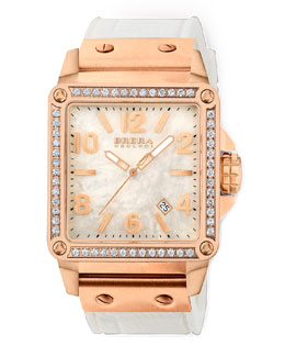 Brera Stella Diamond Rose Gold with MOP Dial on White Rubber